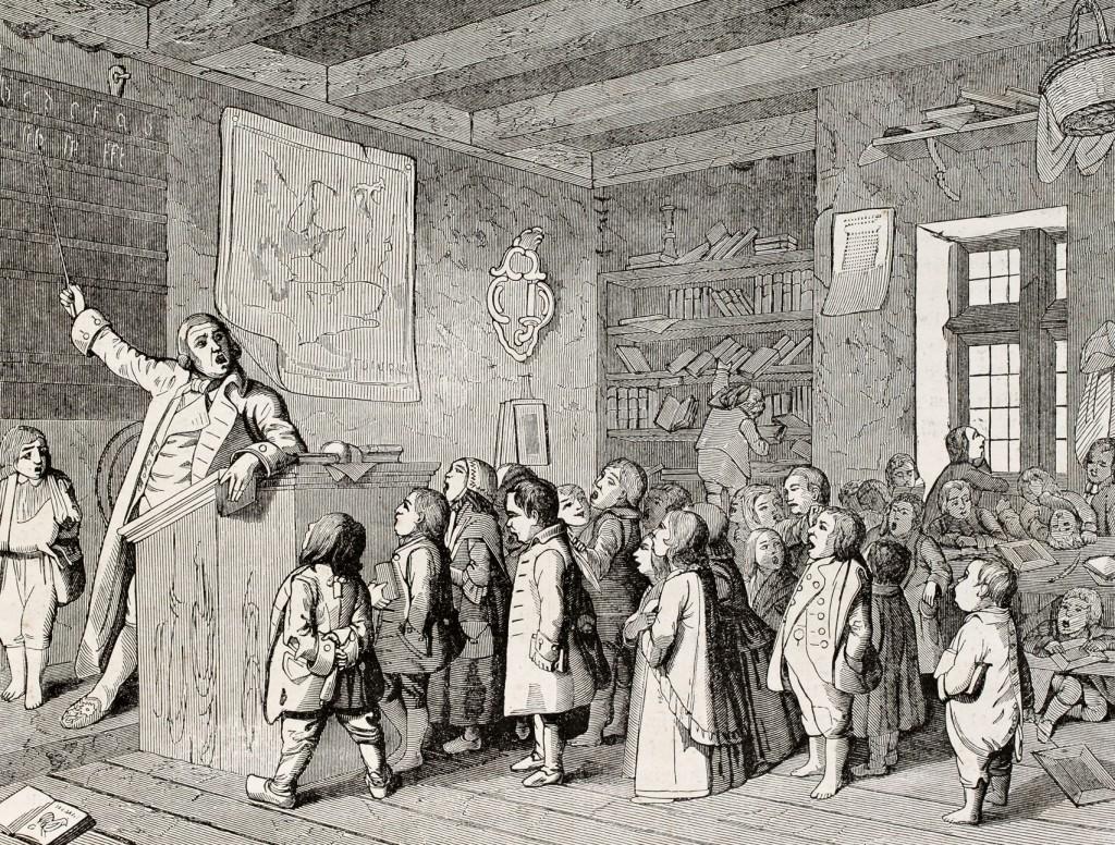 Antigua ilustración sobre el trabajo de un profesor en la escuela. Poema satírico de Carl Arnold Kortum, publicado en Magasin Pittoresque, París 1845.