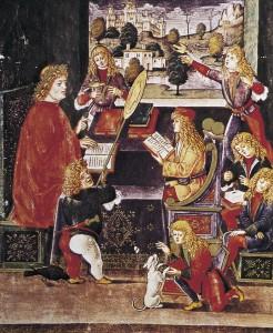 Maximiliano Sforza recibiendo lecciones de su preceptor Gian Antonio Secco, Biblioteca Trivulziana. Milán, 1496.