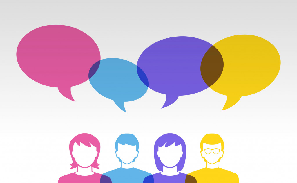 41261153 - people icons and colorful speech bubbles