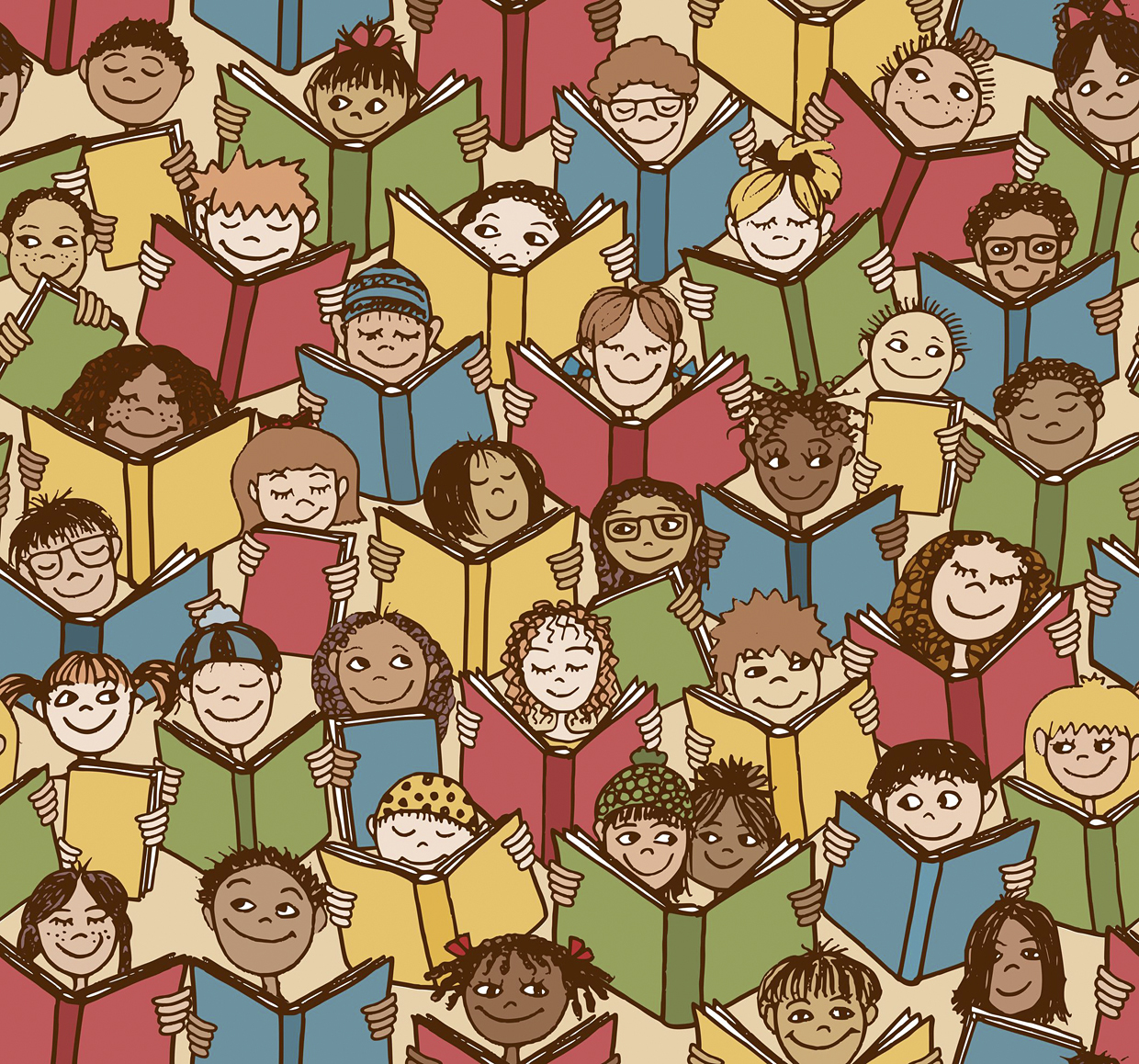 48042816 - seamless pattern of kids reading colorful books
