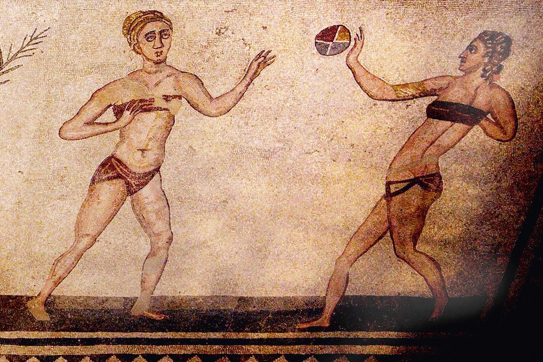 19814403 - 2000 year old roman mosaics of piazza armerina sicily