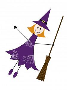 7750311 - cute halloween witch drawn in childish manner
