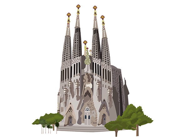 26596725 - sagrada familia church, barcelona, vector illustration