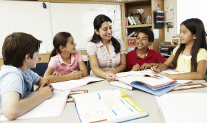 33604238 - teacher and schoolchildren in class