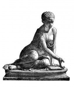 Victorian engraving of a sculpture of a girl playing dice. Digitally restored image from a mid-19th century Encyclopaedia.